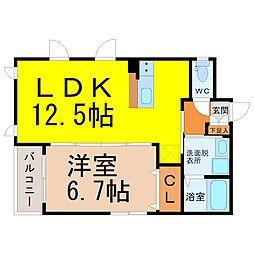 名古屋市営名城線 西高蔵駅 徒歩6分の賃貸マンション 1階1LDKの間取り