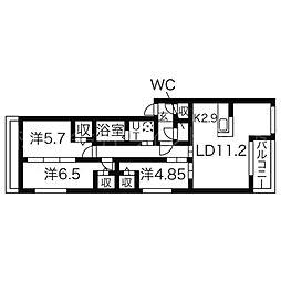 ヌーヴェルコート南9条[4階]の間取り