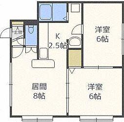 北海道札幌市北区北二十六条西3丁目の賃貸アパートの間取り