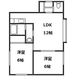 北海道札幌市中央区南十三条西8丁目の賃貸アパートの間取り