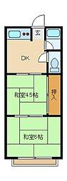 大阪府東大阪市花園本町2丁目の賃貸アパートの間取り