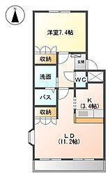 愛知県名古屋市緑区水広1丁目の賃貸アパートの間取り