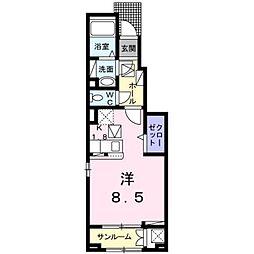 JR予讃線 松山駅 徒歩10分の賃貸アパート 1階1Kの間取り