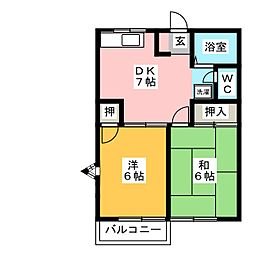 ブルーハイツ森 A棟[2階]の間取り