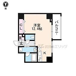 JR山陰本線 丹波口駅 徒歩10分の賃貸マンション 4階ワンルームの間取り