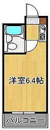 黒崎スカイマンション 5階ワンルームの間取り