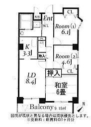 ドルミ若葉[8階]の間取り
