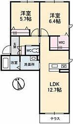 JR宇野線 備前西市駅 4kmの賃貸アパート 1階2LDKの間取り
