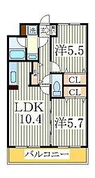 ヴィルトゥオルグージョ[3階]の間取り