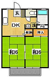 茨城県日立市中成沢町2丁目の賃貸アパートの間取り
