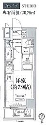 JR京浜東北・根岸線 川崎駅 徒歩4分の賃貸マンション 11階ワンルームの間取り
