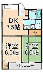 東京都足立区谷中4丁目の賃貸アパートの間取り
