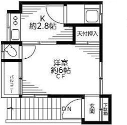 東京都中野区白鷺1丁目の賃貸アパートの間取り