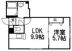 北海道札幌市豊平区旭町3の賃貸マンションの間取り