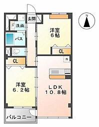鳥取県鳥取市南安長3丁目の賃貸マンションの間取り