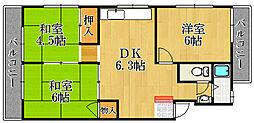 兵庫県宝塚市星の荘の賃貸マンションの間取り