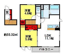 D-Room大路[201号室]の間取り