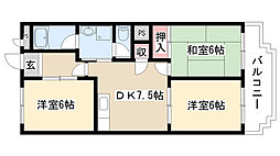 愛知県名古屋市天白区中砂町の賃貸マンションの間取り