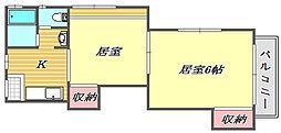 米浪アパート[2階]の間取り