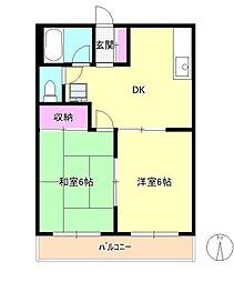 東京都八王子市暁町3丁目の賃貸マンションの間取り