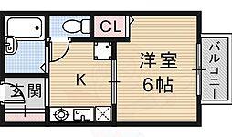 JR東海道・山陽本線 JR総持寺駅 徒歩30分の賃貸アパート 1階1Kの間取り