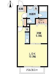 ヴィオラ那珂川 1階1LDKの間取り