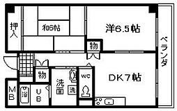 サンロワール和泉砂川 5階2DKの間取り