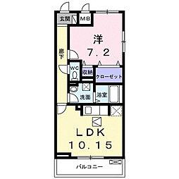 神奈川県大和市上草柳3丁目の賃貸アパートの間取り