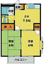 埼玉県川越市大字小室の賃貸アパートの間取り