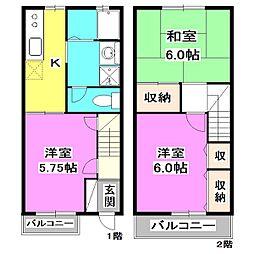 [テラスハウス] 東京都東久留米市浅間町3丁目 の賃貸【東京都 / 東久留米市】の間取り