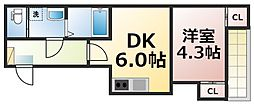 仮称:ハーモニーテラス新今里七丁目 1階1DKの間取り