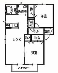 兵庫県姫路市野里の賃貸アパートの間取り