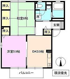 長野県長野市稲里町下氷鉋の賃貸アパートの間取り