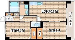 兵庫県神戸市東灘区御影石町3丁目の賃貸マンションの間取り