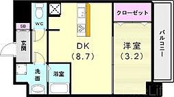 神戸市西神・山手線 新長田駅 徒歩3分の賃貸マンション 7階1DKの間取り