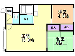 WEST house2 2階2LDKの間取り