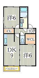 千葉県柏市手賀の杜1丁目の賃貸アパートの間取り
