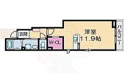 Lua monte 1階ワンルームの間取り