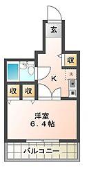 栃木県宇都宮市中央3丁目の賃貸マンションの間取り