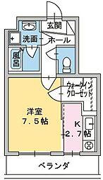 ヒスイコーポ 3階1Kの間取り