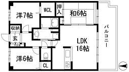 兵庫県川西市東多田3丁目の賃貸マンションの間取り