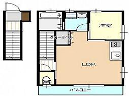 広島電鉄宮島線 広電廿日市駅 徒歩6分の賃貸アパート 2階1LDKの間取り