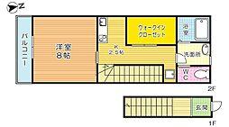 福岡県北九州市小倉北区上富野2丁目の賃貸アパートの間取り