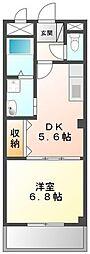 ガーデンヒルズ1 2階1DKの間取り