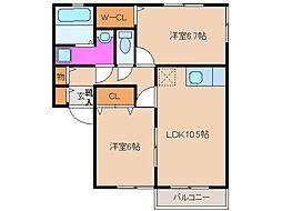 プラム桜川D棟[1階]の間取り