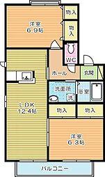 サンセールファミーユI A棟[2階]の間取り