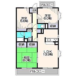 東京都西東京市西原町3丁目の賃貸マンションの間取り