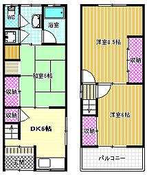 新堂1丁目貸家 1階3DKの間取り