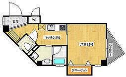 阪神本線 千船駅 徒歩5分の賃貸マンション 4階1Kの間取り