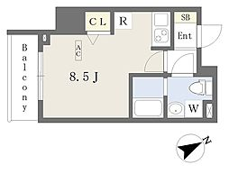 プライムコート本八幡 6階ワンルームの間取り